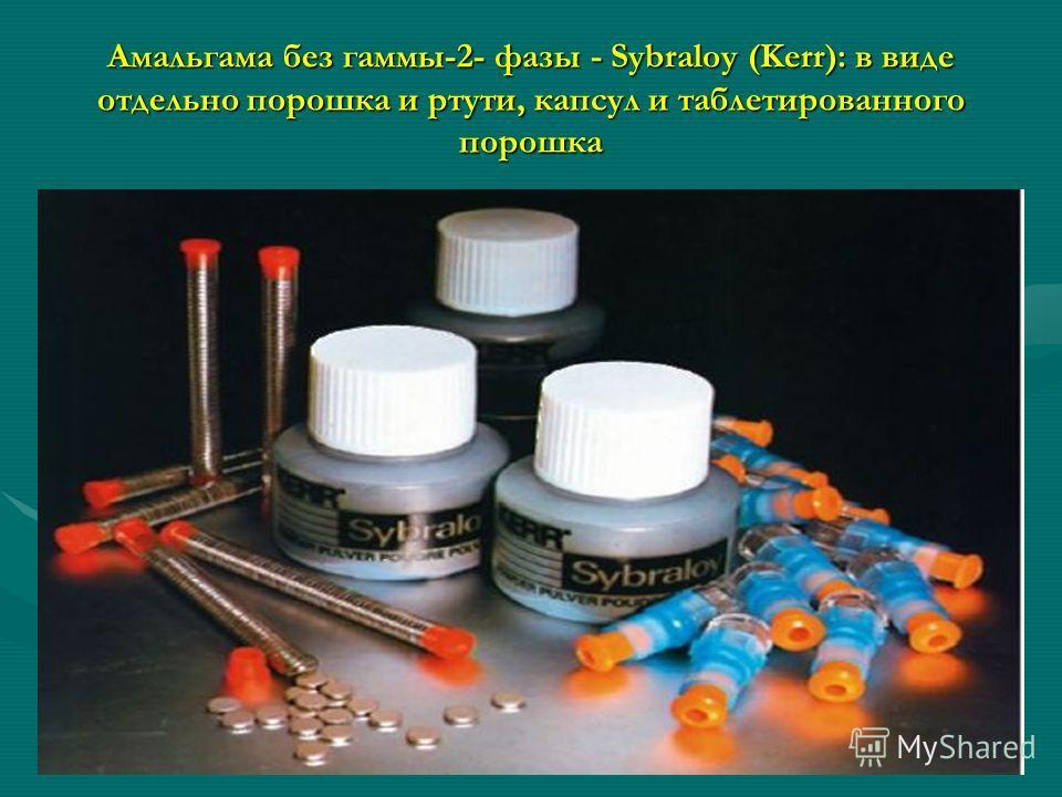 Амальгама без гаммы-2- фазы - Sybraloy (Kerr): в виде отдельно порошка и ртути, капсул и таблетированного порошка