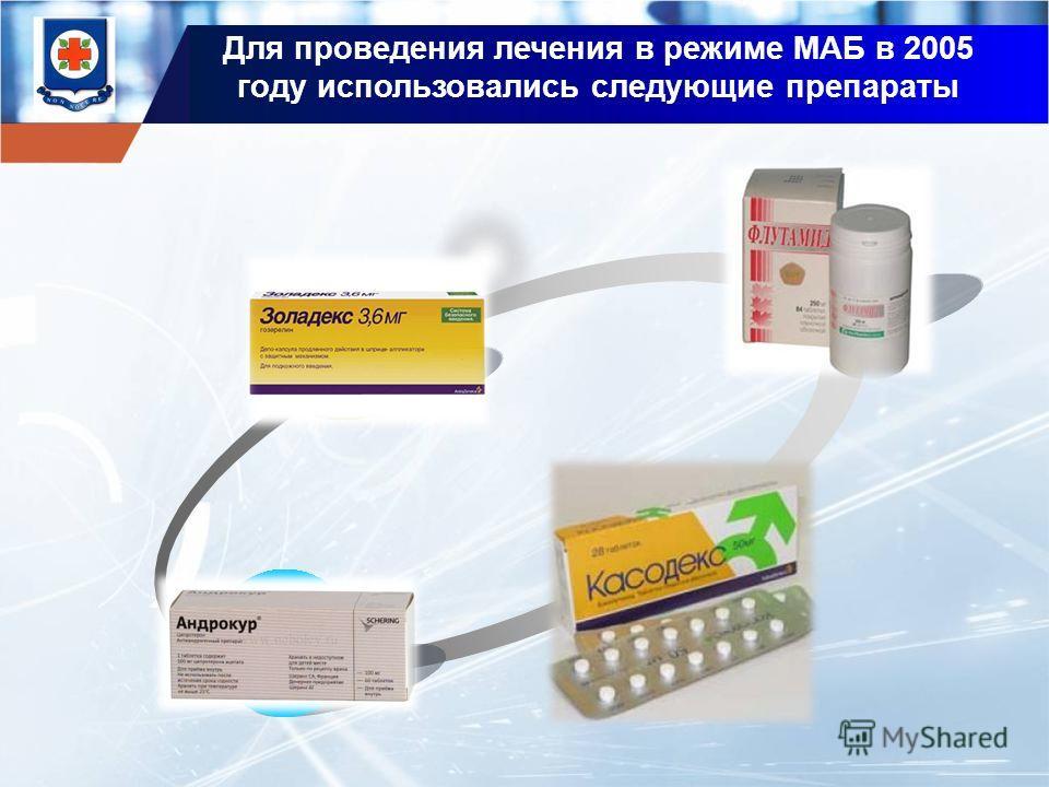 Для проведения лечения в режиме МАБ в 2005 году использовались следующие препараты