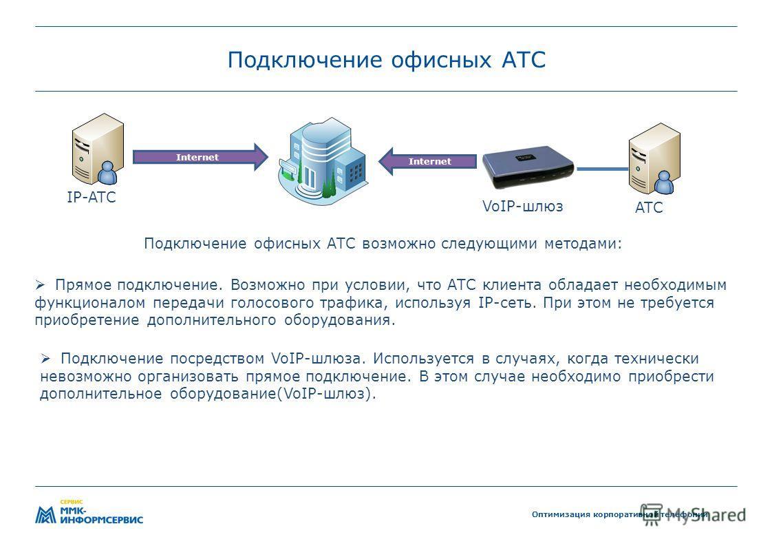 Подключение офисных АТС Оптимизация корпоративной телефонии Прямое подключение. Возможно при условии, что АТС клиента обладает необходимым функционалом передачи голосового трафика, используя IP-сеть. При этом не требуется приобретение дополнительного