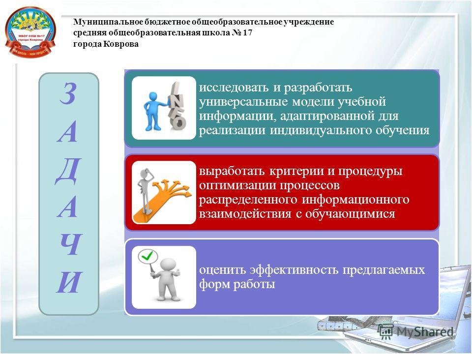 Муниципальное бюджетное общеобразовательное учреждение средняя общеобразовательная школа 17 города Коврова исследовать и разработать универсальные модели учебной информации, адаптированной для реализации индивидуального обучения выработать критерии и