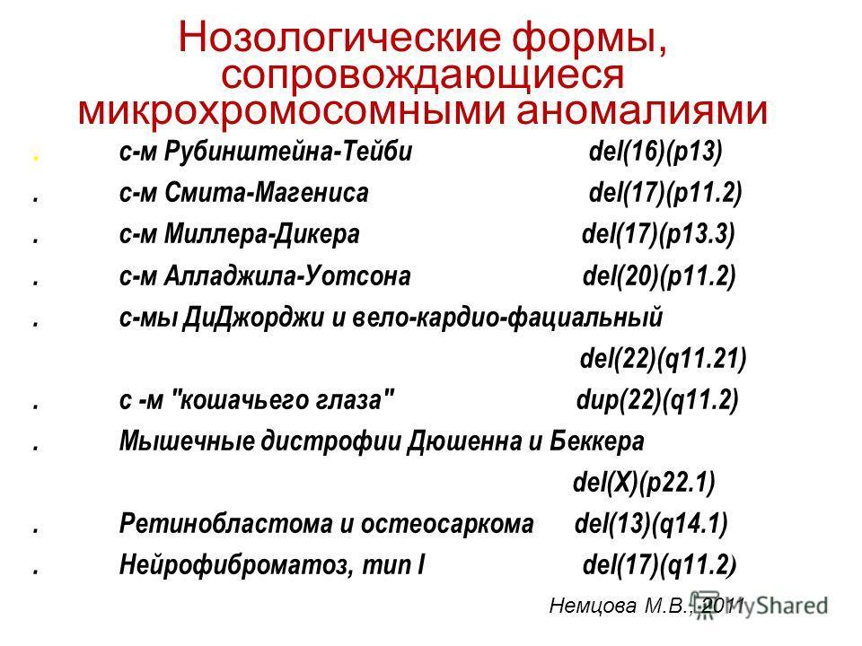 Нозологические формы, сопровождающиеся микрохромосомными аномалиями Немцова М.В., 2011. с-м Рубинштейна-Тейби del(16)(p13).с-м Смита-Магениса del(17)(p11.2).с-м Миллера-Дикера del(17)(p13.3).с-м Алладжила-Уотсона del(20)(p11.2).с-мы ДиДжорджи и вело-