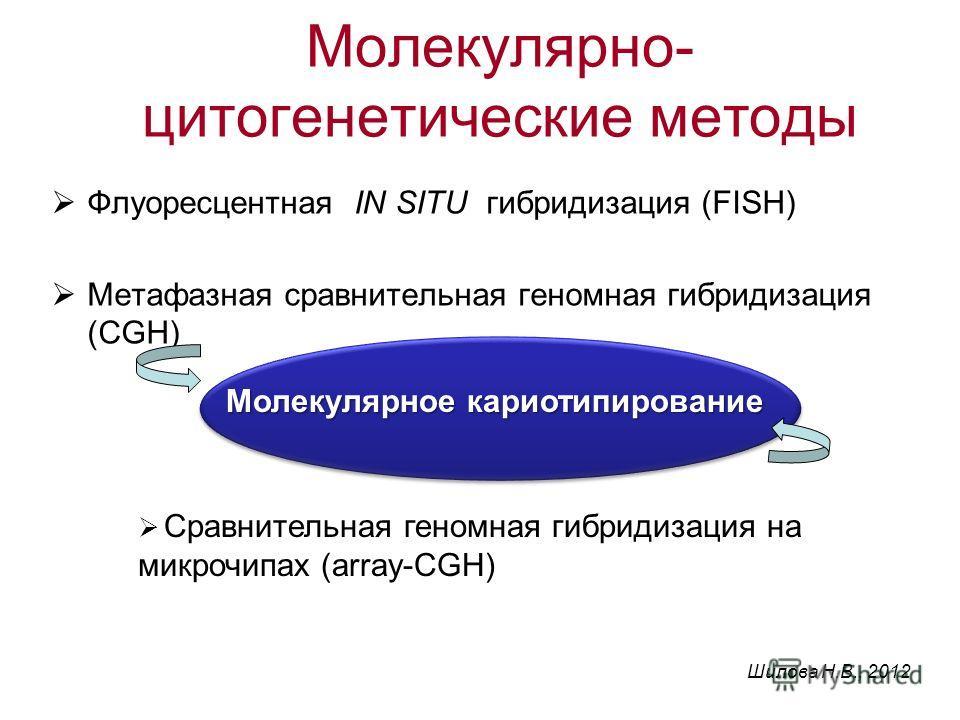 Флуоресцентная IN SITU гибридизация (FISH) Метафазная сравнительная геномная гибридизация (CGH) Сравнительная геномная гибридизация на микрочипах (array-CGH) Молекулярное кариотипирование Молекулярно- цитогенетические методы Шилова Н.В., 2012
