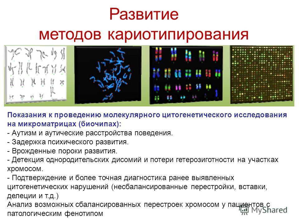 Развитие методов кариотипирования Показания к проведению молекулярного цитогенетического исследования на микроматрицах (биочипах): - Аутизм и аутические расстройства поведения. - Задержка психического развития. - Врожденные пороки развития. - Детекци