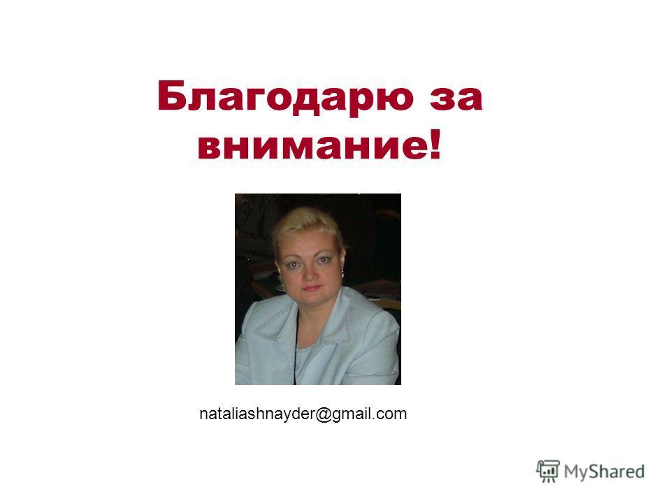 Благодарю за внимание! nataliashnayder@gmail.com