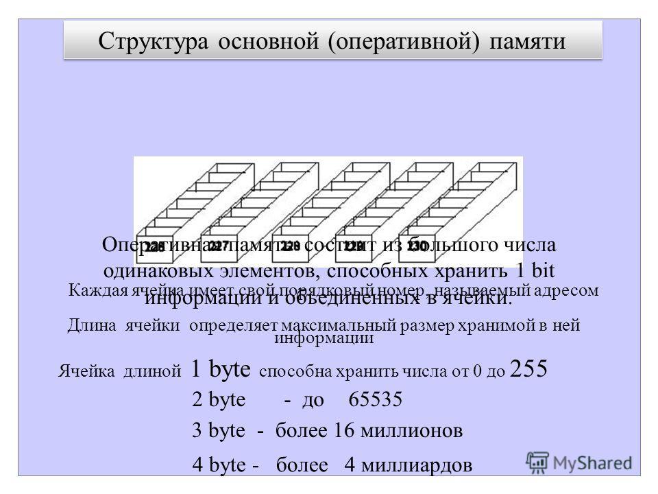 Структура основной (оперативной) памяти Оперативная память состоит из большого числа одинаковых элементов, способных хранить 1 bit информации и объединенных в ячейки. Длина ячейки определяет максимальный размер хранимой в ней информации Каждая ячейка