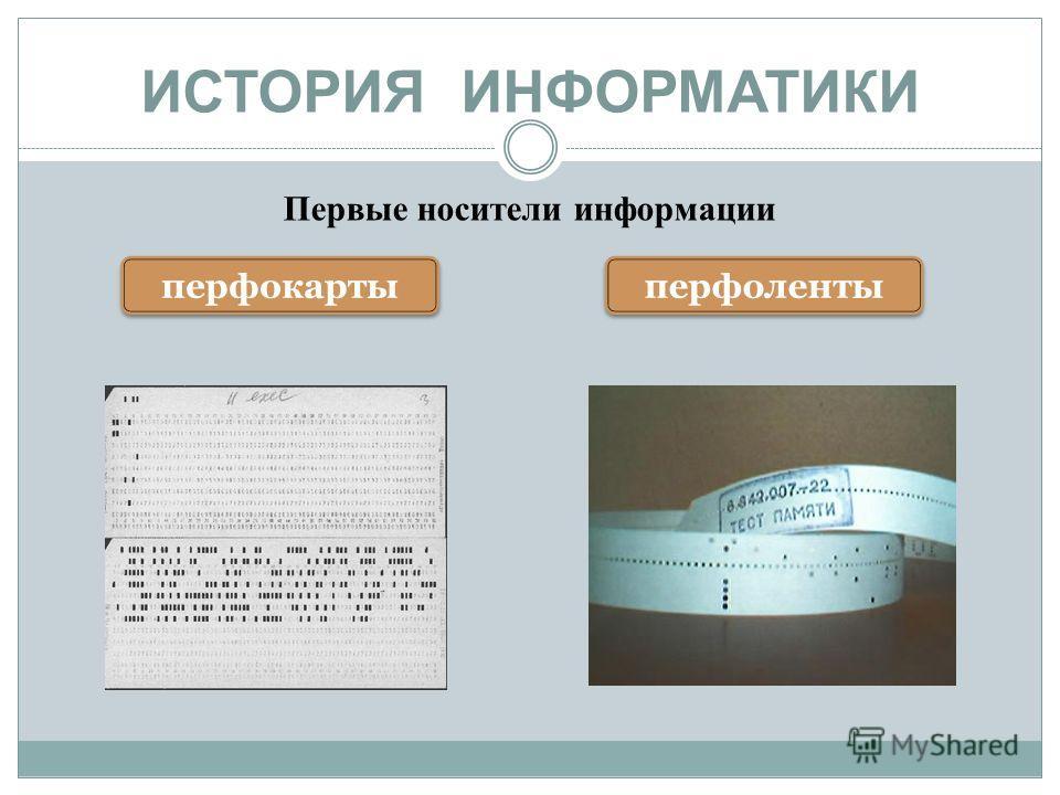 ИСТОРИЯ ИНФОРМАТИКИ Первые носители информации перфокарты перфоленты