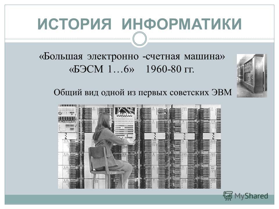 ИСТОРИЯ ИНФОРМАТИКИ «Большая электронно -счетная машина» «БЭСМ 1…6» 1960-80 гг. Общий вид одной из первых советских ЭВМ