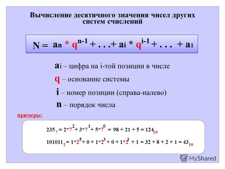 Вычисление десятичного значения чисел других систем счислений a i – цифра на i-той позиции в числе q – основание системы i – номер позиции (справа-налево) n – порядок числа a n * q +...+ a i * q +... + a 1 n-1 N = i-1 примеры: = 2*7 + 3*7 + 5*7 = 210