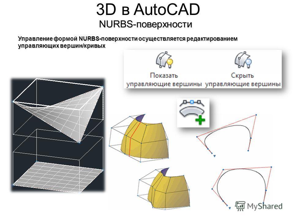 3D в AutoCADNURBS-поверхности Управление формой NURBS-поверхности осуществляется редактированием управляющих вершин/кривых