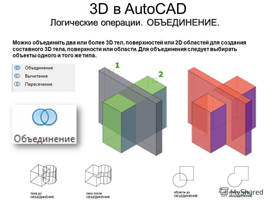 3D в AutoCAD Логические операции. ОБЪЕДИНЕНИЕ. Можно объединить два или более 3D тел, поверхностей или 2D областей для создания составного 3D тела, поверхности или области. Для объединения следует выбирать объекты одного и того же типа.