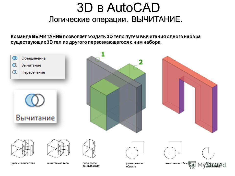 3D в AutoCAD Логические операции. ВЫЧИТАНИЕ. Команда ВЫЧИТАНИЕ позволяет создать 3D тело путем вычитания одного набора существующих 3D тел из другого пересекающегося с ним набора.