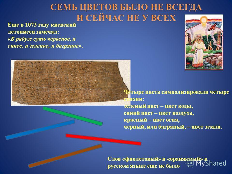 Еще в 1073 году киевский летописец замечал : « В радуге суть червеное, и синее, и зеленое, и багряное ». Четыре цвета символизировали четыре стихии : зеленый цвет – цвет воды, синий цвет – цвет воздуха, красный – цвет огня, черный, или багряный, – цв