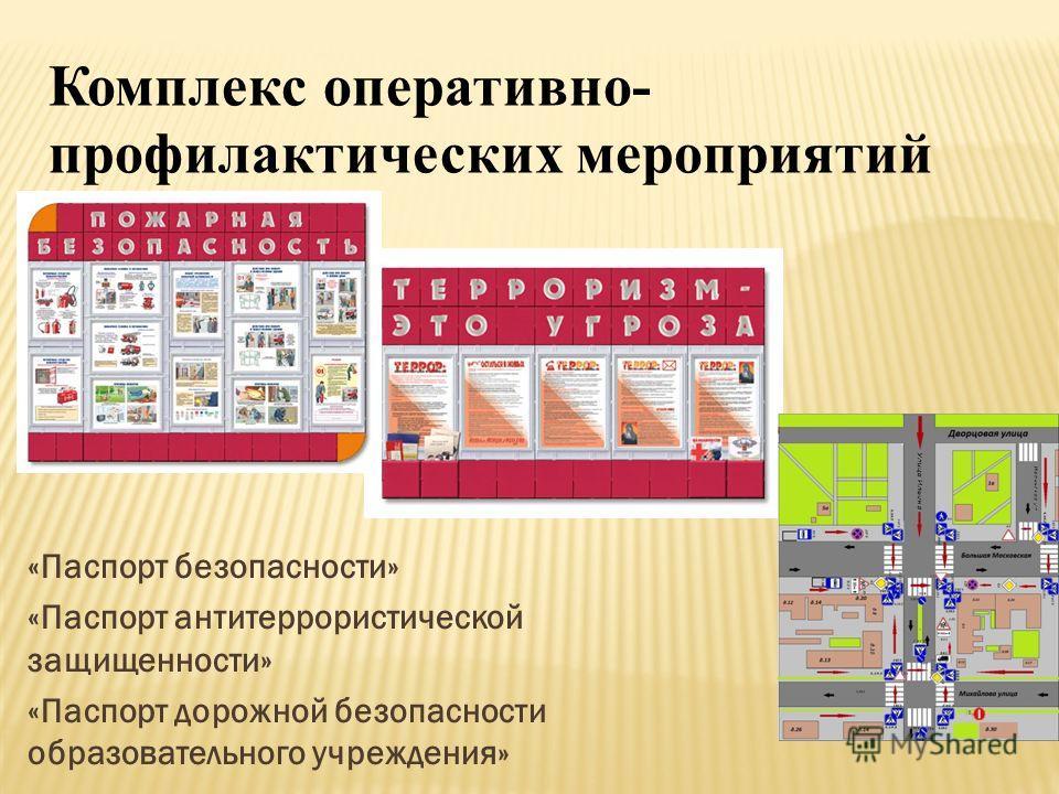 «Паспорт безопасности» «Паспорт антитеррористической защищенности» «Паспорт дорожной безопасности образовательного учреждения» Комплекс оперативно- профилактических мероприятий