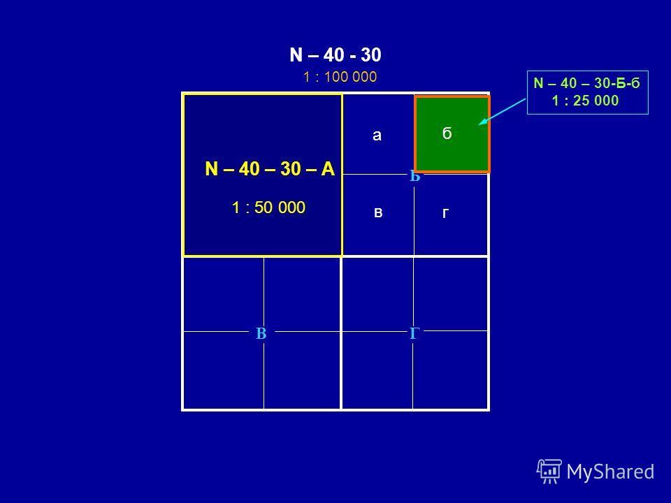 ГВ Б 1 : 100 000 1 : 100 000 (j-49-4) а в б г А N – 40 - 30 N – 40 – 30 – А 1 : 50 000 а б в г N – 40 – 30-Б-б 1 : 25 000