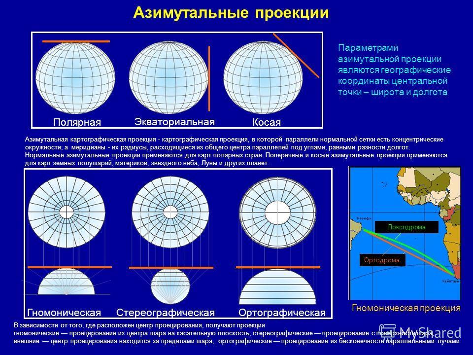 Азимутальная картографическая проекция - картографическая проекция, в которой параллели нормальной сетки есть концентрические окружности; а меридианы - их радиусы, расходящиеся из общего центра параллелей под углами, равными разности долгот. Нормальн