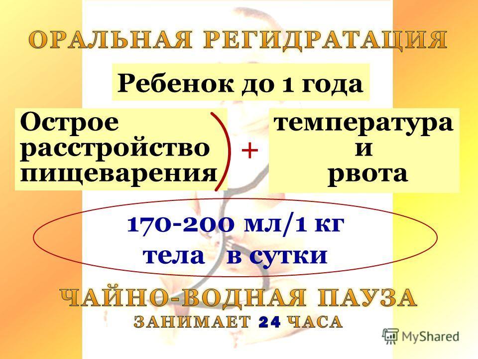 Острое расстройство пищеварения + 170-200 мл/1 кг тела в сутки Ребенок до 1 года температура и рвота