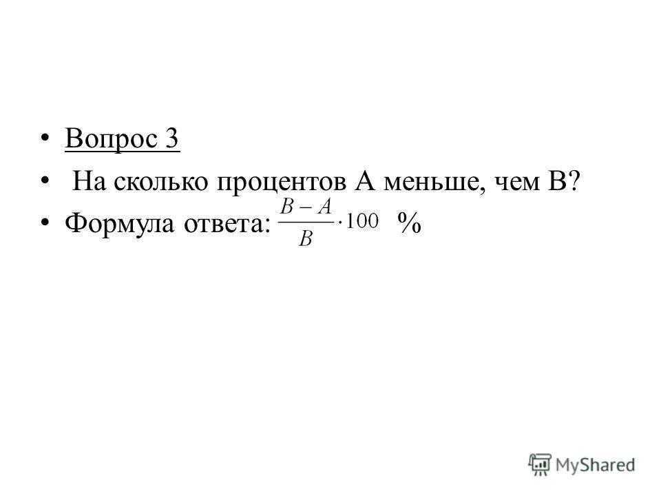 Вопрос 3 На сколько процентов А меньше, чем В? Формула ответа: %