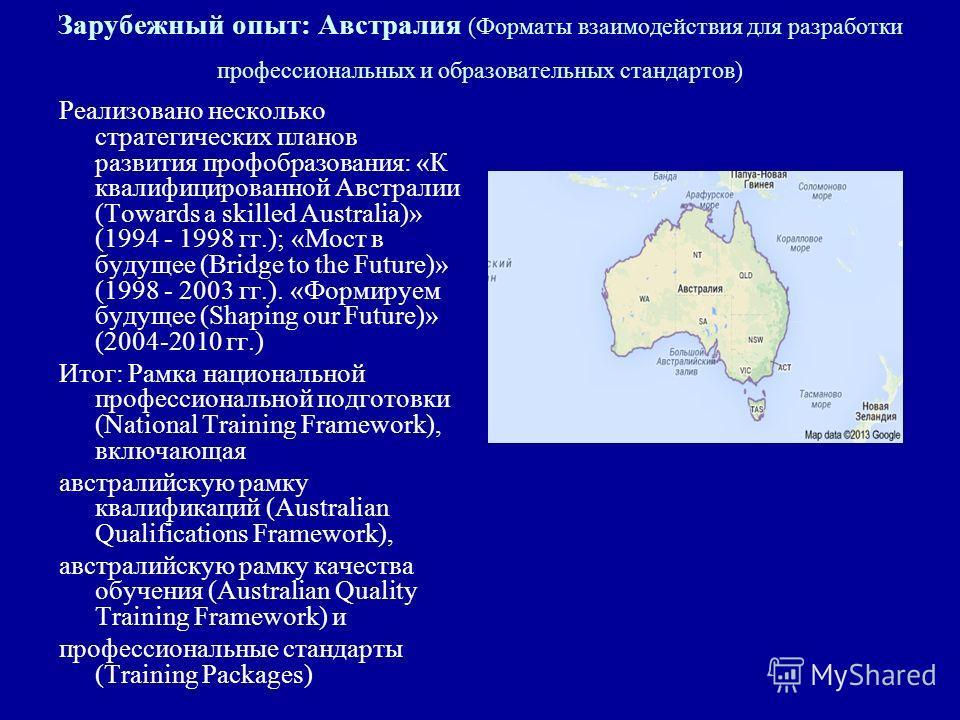 Зарубежный опыт: Австралия (Форматы взаимодействия для разработки профессиональных и образовательных стандартов) Реализовано несколько стратегических планов развития профобразования: «К квалифицированной Австралии (Towards a skilled Australia)» (1994