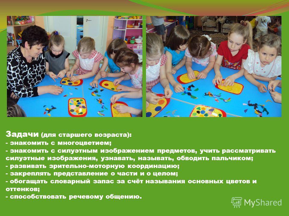 Задачи (для старшего возраста): - знакомить с многоцветием; - знакомить с силуэтным изображением предметов, учить рассматривать силуэтные изображения, узнавать, называть, обводить пальчиком; - развивать зрительно-моторную координацию; - закреплять пр