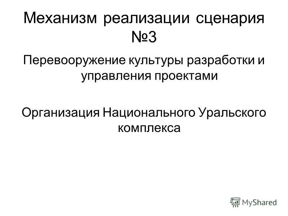 Механизм реализации сценария 3 Перевооружение культуры разработки и управления проектами Организация Национального Уральского комплекса