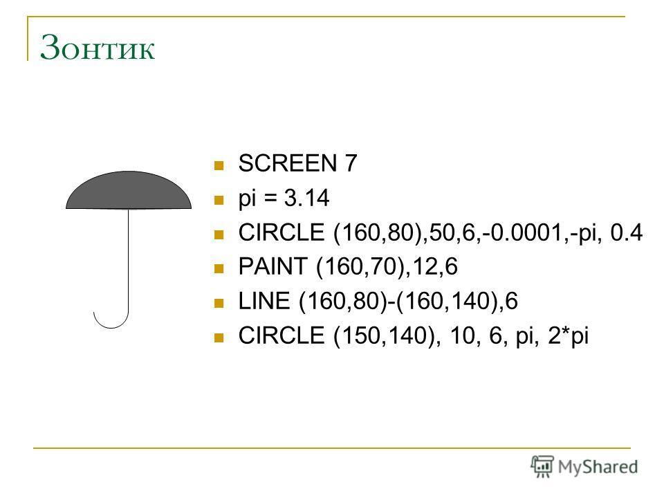 Зонтик SCREEN 7 pi = 3.14 CIRCLE (160,80),50,6,-0.0001,-pi, 0.4 PAINT (160,70),12,6 LINE (160,80)-(160,140),6 CIRCLE (150,140), 10, 6, pi, 2*pi