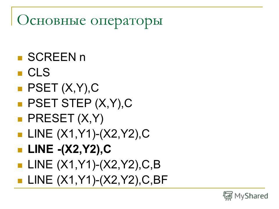 Основные операторы SCREEN n CLS PSET (X,Y),C PSET STEP (X,Y),C PRESET (X,Y) LINE (X1,Y1)-(X2,Y2),C LINE -(X2,Y2),C LINE (X1,Y1)-(X2,Y2),C,B LINE (X1,Y1)-(X2,Y2),C,BF