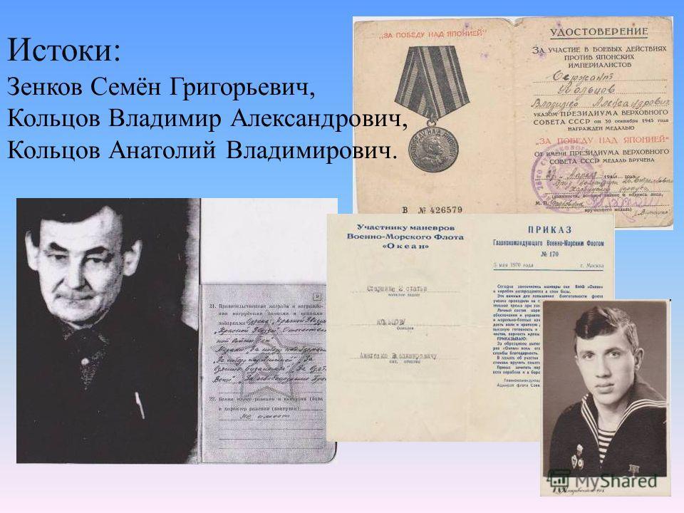 Истоки: Зенков Семён Григорьевич, Кольцов Владимир Александрович, Кольцов Анатолий Владимирович.