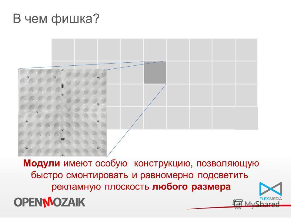 В чем фишка? Модули имеют особую конструкцию, позволяющую быстро смонтировать и равномерно подсветить рекламную плоскость любого размера