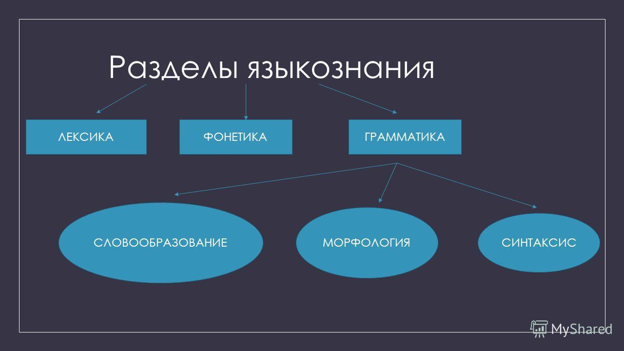 Разделы языкознания ЛЕКСИКАФОНЕТИКАГРАММАТИКА СЛОВООБРАЗОВАНИЕ МОРФОЛОГИЯ СИНТАКСИС