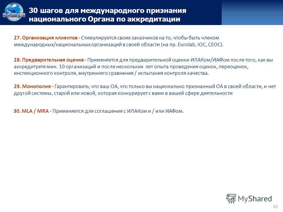10 30 шагов для международного признания национального Органа по аккредитации 27. Организация клиентов - Стимулируется своих заказчиков на то, чтобы быть членом международных/национальных организаций в своей области (на пр. Eurolab, IOC, CEOC). 28. П