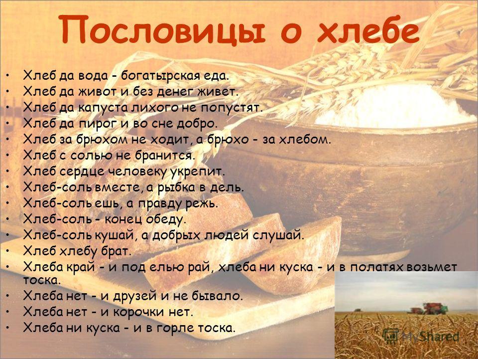 Пословицы о хлебе Хлеб да вода - богатырская еда. Хлеб да живот и без денег живет. Хлеб да капуста лихого не попустят. Хлеб да пирог и во сне добро. Хлеб за брюхом не ходит, а брюхо - за хлебом. Хлеб с солью не бранится. Хлеб сердце человеку укрепит.
