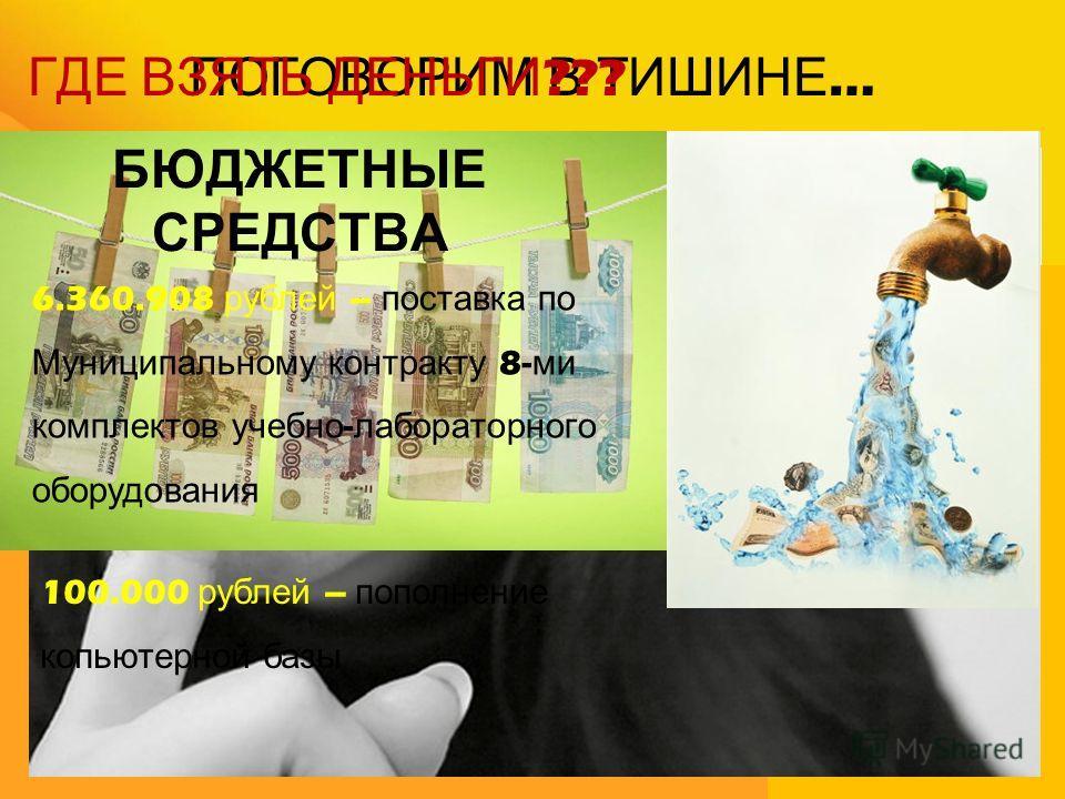 ПОГОВОРИМ В ТИШИНЕ … ГДЕ ВЗЯТЬ ДЕНЬГИ ??? БЮДЖЕТНЫЕ СРЕДСТВА 6.360.908 рублей – поставка по Муниципальному контракту 8- ми комплектов учебно - лабораторного оборудования 100.000 рублей – пополнение копьютерной базы