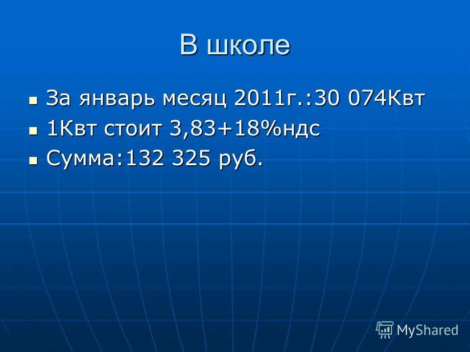 В школе За январь месяц 2011г.:30 074Квт За январь месяц 2011г.:30 074Квт 1Квт стоит 3,83+18%ндс 1Квт стоит 3,83+18%ндс Сумма:132 325 руб. Сумма:132 325 руб.
