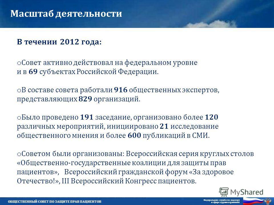 ОБЩЕСТВЕННЫЙ СОВЕТ ПО ЗАЩИТЕ ПРАВ ПАЦИЕНТОВ Федеральная служба по надзору в сфере здравоохранения В течении 2012 года: o Совет активно действовал на федеральном уровне и в 69 субъектах Российской Федерации. o В составе совета работали 916 общественны