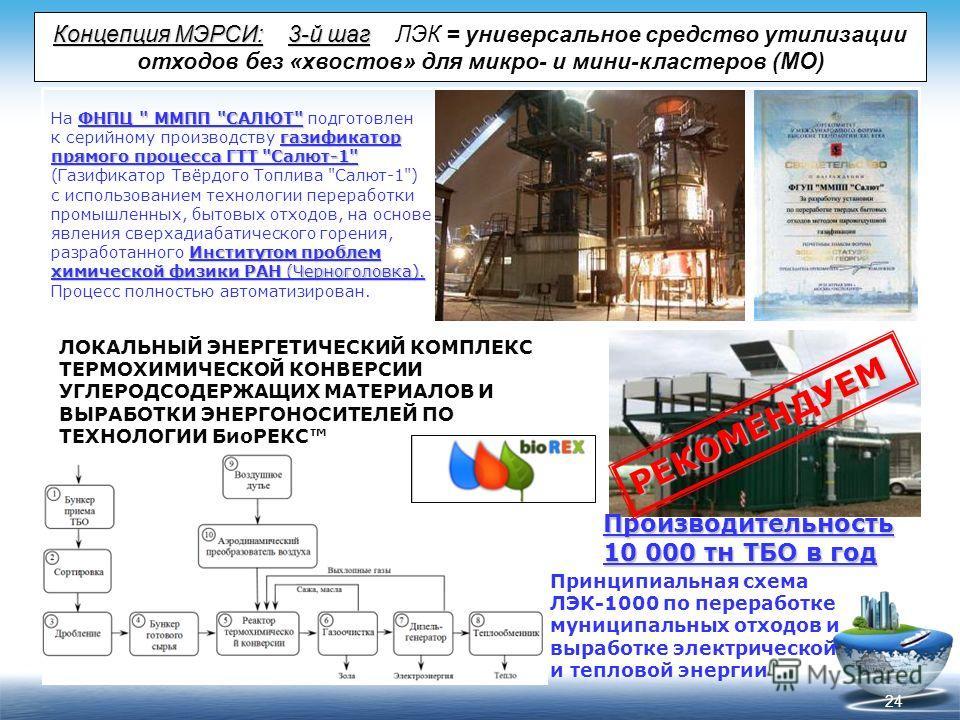 24 Концепция МЭРСИ:3-й шаг Концепция МЭРСИ: 3-й шаг ЛЭК = универсальное средство утилизации отходов без «хвостов» для микро- и мини-кластеров (МО) ФНПЦ