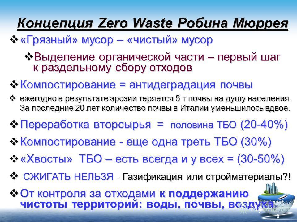 8 Концепция Zero Waste Робина Мюррея «Грязный» мусор – «чистый» мусор «Грязный» мусор – «чистый» мусор Выделение органической части – первый шаг к раздельному сбору отходов Выделение органической части – первый шаг к раздельному сбору отходов Компост