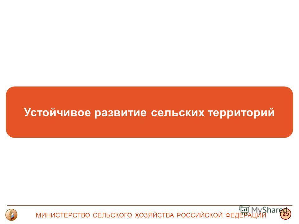 Устойчивое развитие сельских территорий МИНИСТЕРСТВО СЕЛЬСКОГО ХОЗЯЙСТВА РОССИЙСКОЙ ФЕДЕРАЦИИ 25