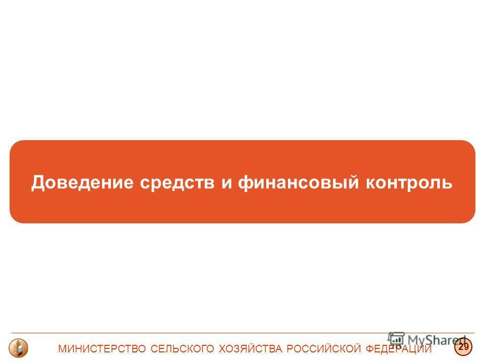 Доведение средств и финансовый контроль МИНИСТЕРСТВО СЕЛЬСКОГО ХОЗЯЙСТВА РОССИЙСКОЙ ФЕДЕРАЦИИ 29