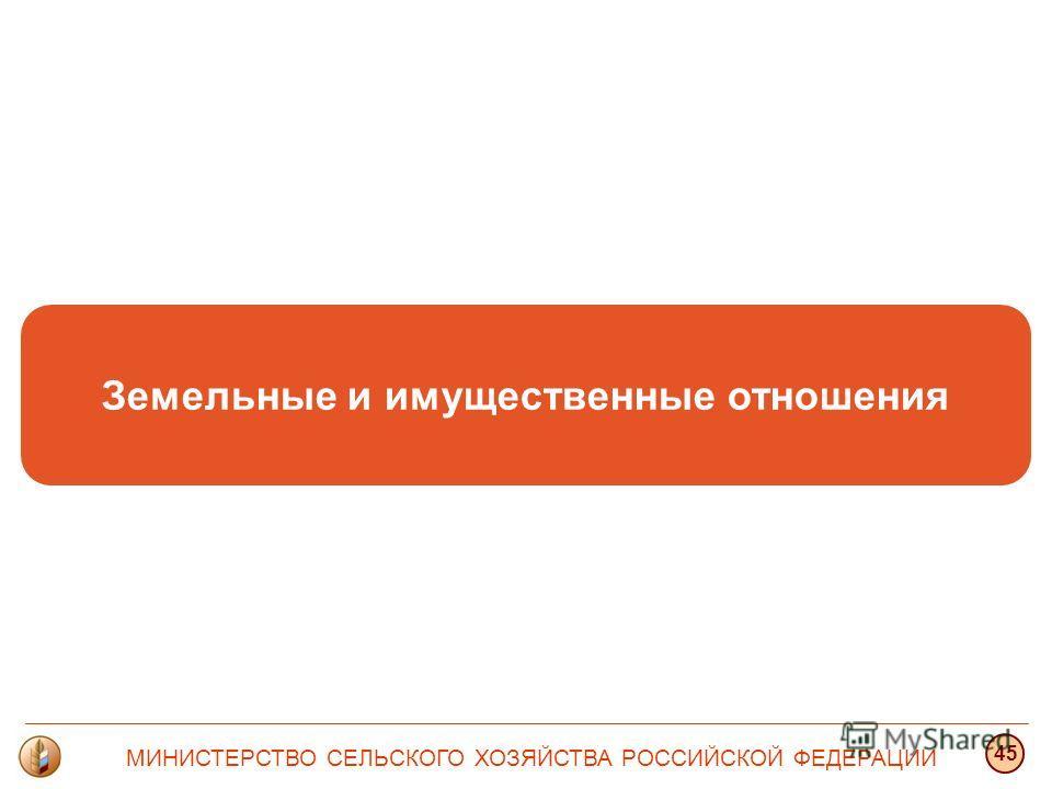 Земельные и имущественные отношения МИНИСТЕРСТВО СЕЛЬСКОГО ХОЗЯЙСТВА РОССИЙСКОЙ ФЕДЕРАЦИИ 45