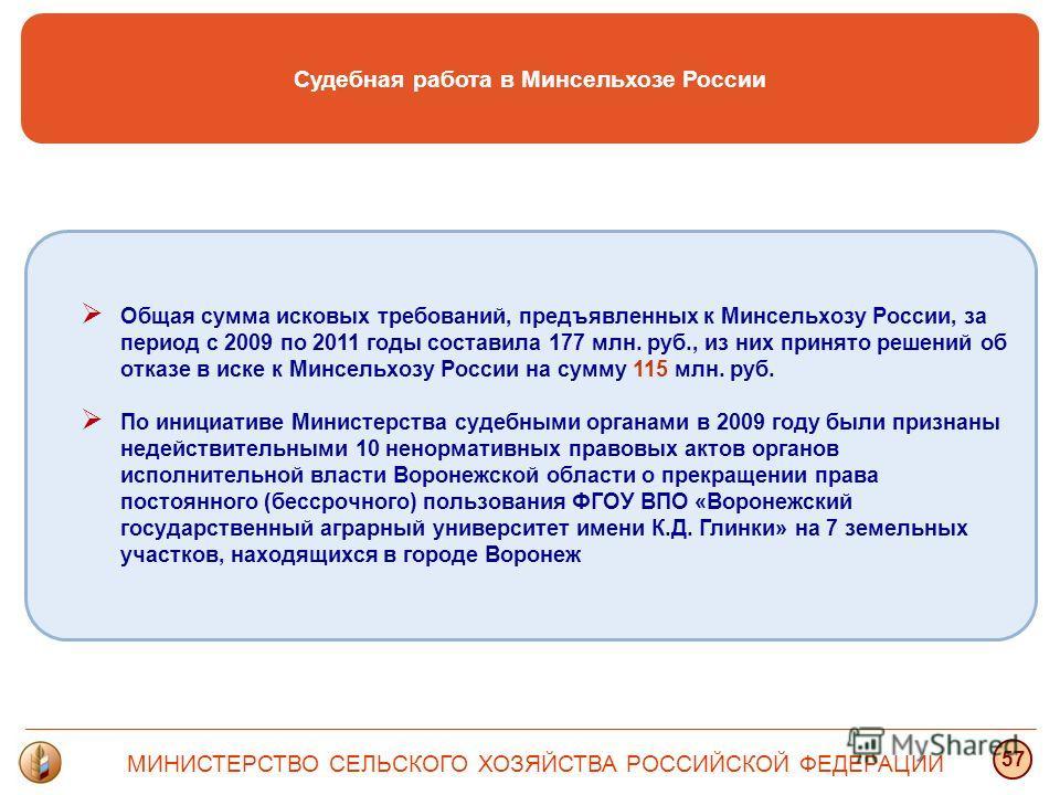 Судебная работа в Минсельхозе России МИНИСТЕРСТВО СЕЛЬСКОГО ХОЗЯЙСТВА РОССИЙСКОЙ ФЕДЕРАЦИИ 57 Общая сумма исковых требований, предъявленных к Минсельхозу России, за период с 2009 по 2011 годы составила 177 млн. руб., из них принято решений об отказе