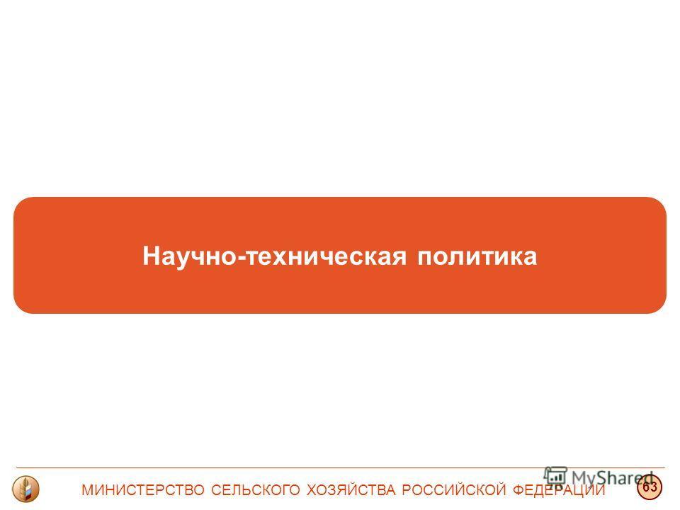 Научно-техническая политика МИНИСТЕРСТВО СЕЛЬСКОГО ХОЗЯЙСТВА РОССИЙСКОЙ ФЕДЕРАЦИИ 63
