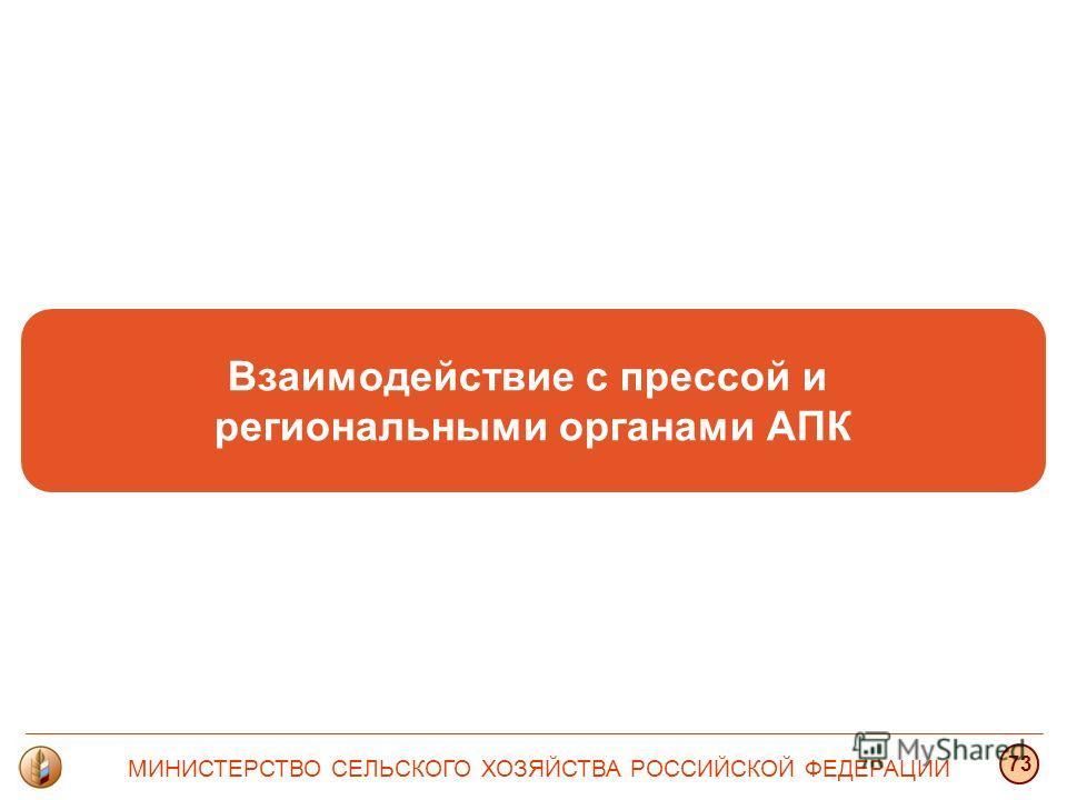 Взаимодействие с прессой и региональными органами АПК МИНИСТЕРСТВО СЕЛЬСКОГО ХОЗЯЙСТВА РОССИЙСКОЙ ФЕДЕРАЦИИ 73