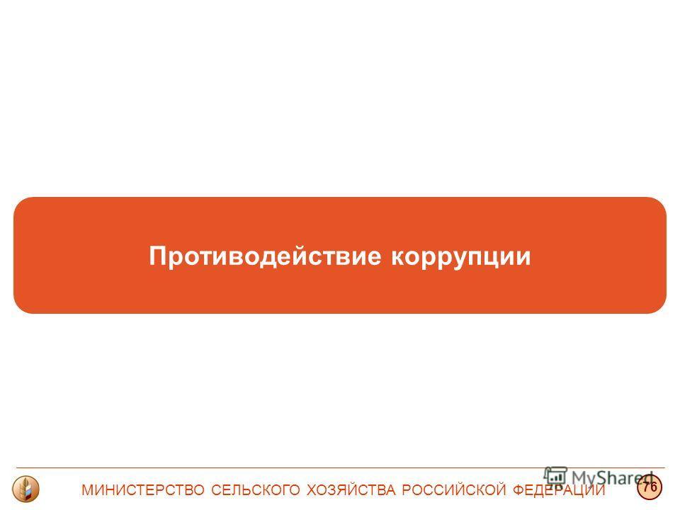 Противодействие коррупции МИНИСТЕРСТВО СЕЛЬСКОГО ХОЗЯЙСТВА РОССИЙСКОЙ ФЕДЕРАЦИИ 76