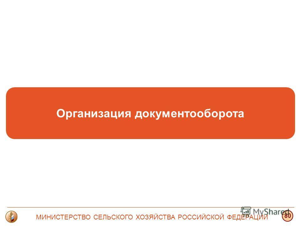 Организация документооборота МИНИСТЕРСТВО СЕЛЬСКОГО ХОЗЯЙСТВА РОССИЙСКОЙ ФЕДЕРАЦИИ 80