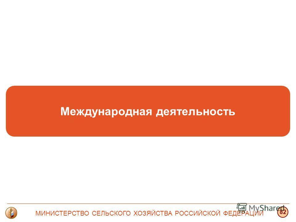 Международная деятельность МИНИСТЕРСТВО СЕЛЬСКОГО ХОЗЯЙСТВА РОССИЙСКОЙ ФЕДЕРАЦИИ 82