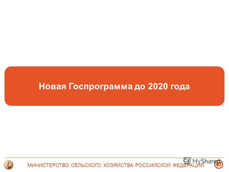 Новая Госпрограмма до 2020 года МИНИСТЕРСТВО СЕЛЬСКОГО ХОЗЯЙСТВА РОССИЙСКОЙ ФЕДЕРАЦИИ 87