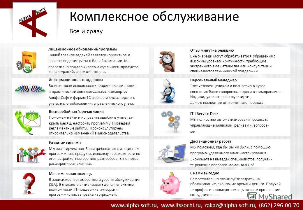 www.alpha-soft.ru, www.itssochi.ru, zakaz@alpha-soft.ru, (862) 296-00-70 Лицензионное обновление программ Нашей главное задачей является корректное и простое ведение учета в Вашей компании. Мы оперативно поддерживаем актуальность продуктов, конфигура