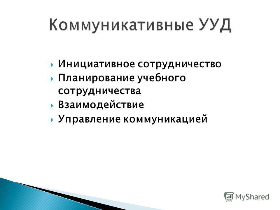 Инициативное сотрудничество Планирование учебного сотрудничества Взаимодействие Управление коммуникацией