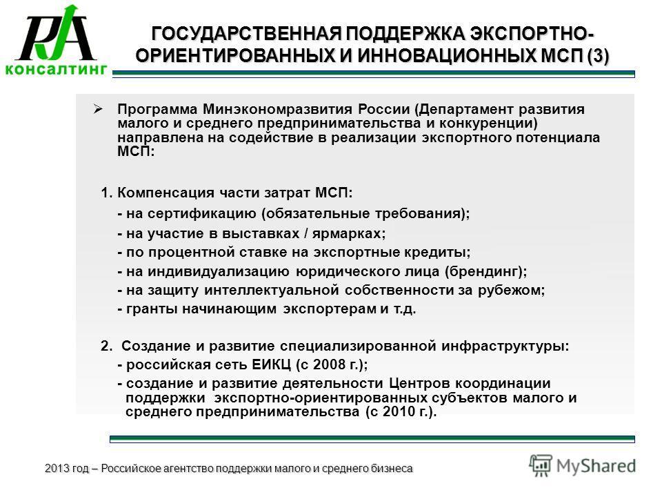 2013 год – Российское агентство поддержки малого и среднего бизнеса ГОСУДАРСТВЕННАЯ ПОДДЕРЖКА ЭКСПОРТНО- ОРИЕНТИРОВАННЫХ И ИННОВАЦИОННЫХ МСП (3) Программа Минэкономразвития России (Департамент развития малого и среднего предпринимательства и конкурен