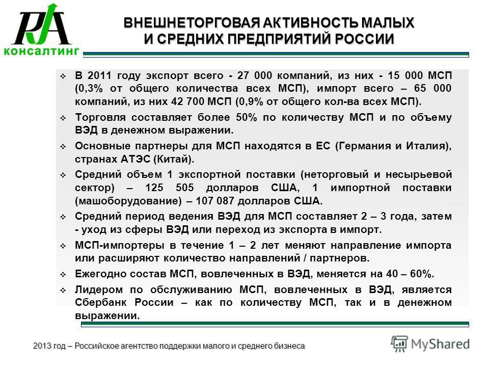 2013 год – Российское агентство поддержки малого и среднего бизнеса 4 ВНЕШНЕТОРГОВАЯ АКТИВНОСТЬ МАЛЫХ И СРЕДНИХ ПРЕДПРИЯТИЙ РОССИИ В 2011 году экспорт всего - 27 000 компаний, из них - 15 000 МСП (0,3% от общего количества всех МСП), импорт всего – 6
